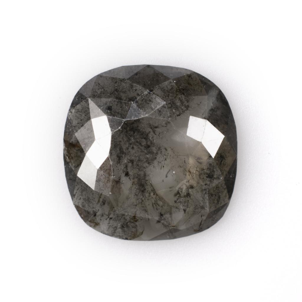 Rose Cut Salt and Pepper Cushion Diamond